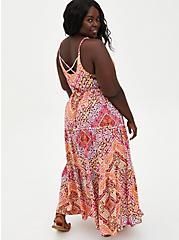 Peach Scarf Print Challis Tiered Maxi Dress, SCARF - PEACH, alternate