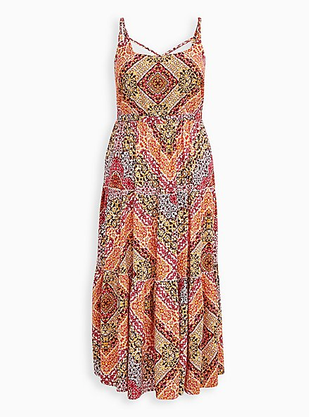 Plus Size Peach Scarf Print Challis Tiered Maxi Dress, SCARF - PEACH, hi-res