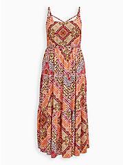 Peach Scarf Print Challis Tiered Maxi Dress, SCARF - PEACH, hi-res