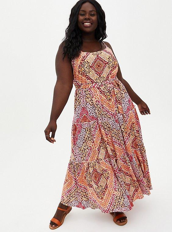 Peach Scarf Print Challis Tiered Maxi Dress, , hi-res
