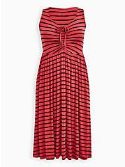 Super Soft Bright Berry Stripe Shirred Skater Midi Dress, STRIPE - RED, hi-res