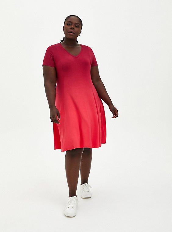Super Soft Red Wine Dip-Dye Trapeze Dress, DYE - PINK, hi-res