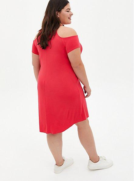 Super Soft Bright Berry Cold Shoulder T-Shirt Mini Dress, TEABERRY, alternate