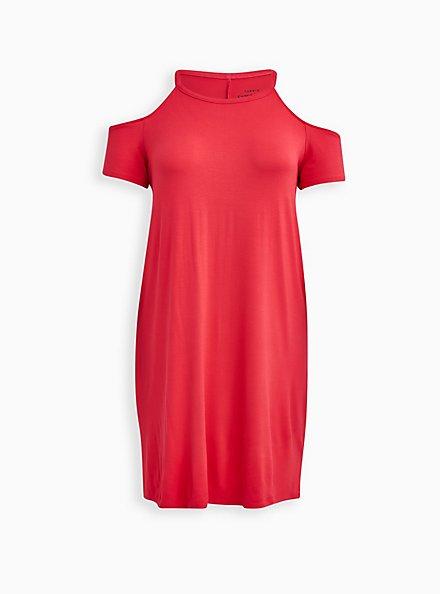 Super Soft Bright Berry Cold Shoulder T-Shirt Mini Dress, TEABERRY, hi-res