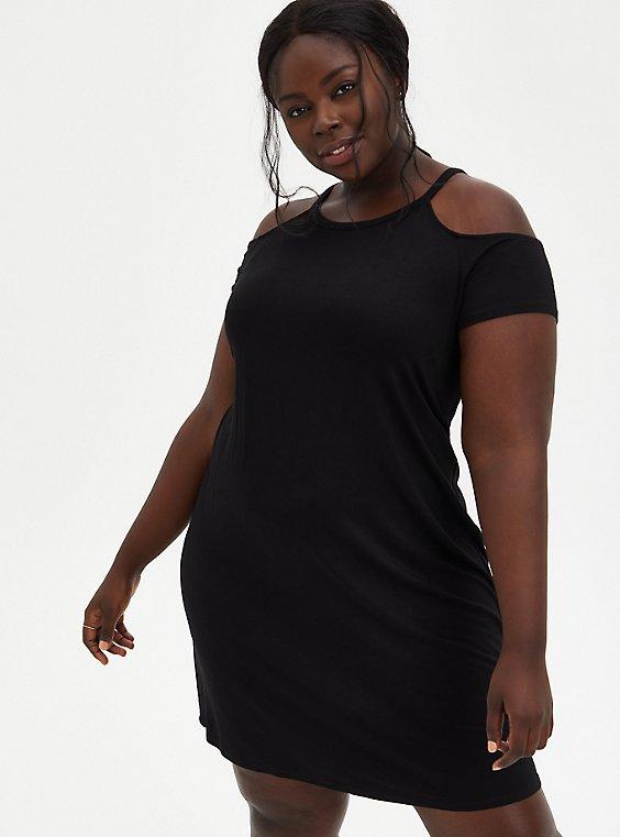 Super Soft Black Cold-Shoulder T-Shirt Mini Dress, DEEP BLACK, hi-res