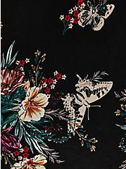 Black Floral Knit To Woven Handkerchief Dress, FLORALS-BLACK, alternate
