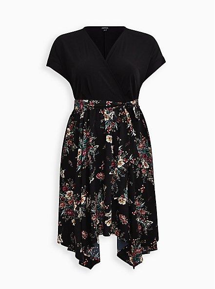 Black Floral Knit To Woven Handkerchief Dress, FLORALS-BLACK, hi-res