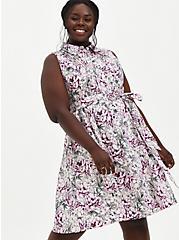 Ivory Floral Poplin Shirt Dress, FLORAL - IVORY, hi-res