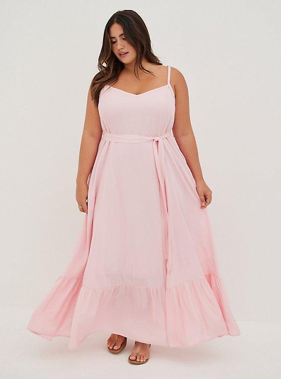 Light Pink Gauze Tiered Maxi Dress, , hi-res