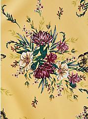 Yellow Floral Stretch Challis Shirred Skater Dress, FLORALS-YELLOW, alternate
