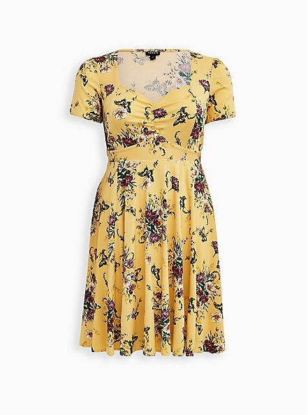 Plus Size Yellow Floral Stretch Challis Shirred Skater Dress, FLORALS-YELLOW, hi-res