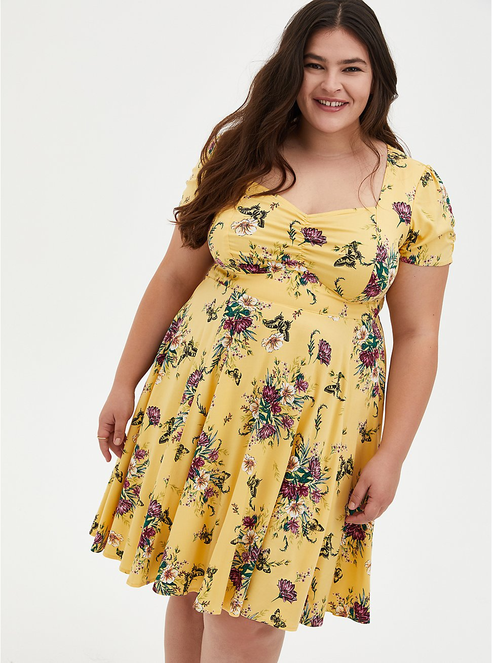 Yellow Floral Stretch Challis Shirred Skater Dress, FLORALS-YELLOW, hi-res