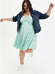 Dusty Sage Floral Stretch Challis Shirred Skater Dress, FLORALS-MINT, alternate