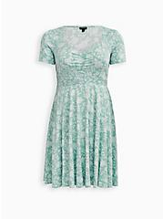 Dusty Sage Floral Stretch Challis Shirred Skater Dress, FLORALS-MINT, hi-res