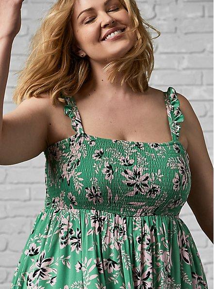 Green Floral Challis Smocked Midi Dress, FLORALS-GREEN, alternate