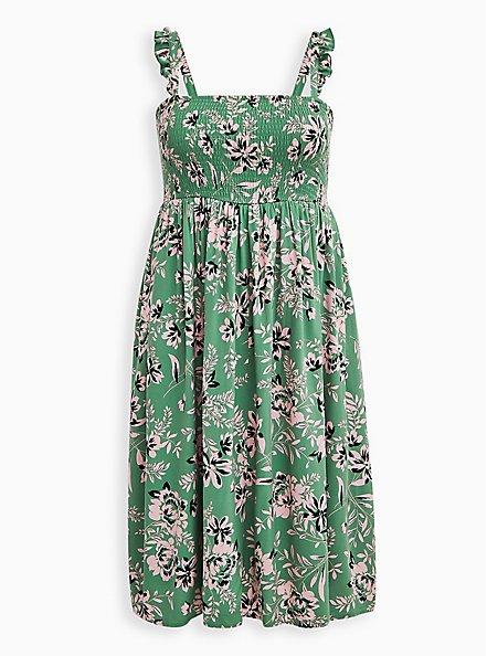Green Floral Challis Smocked Midi Dress, FLORALS-GREEN, hi-res