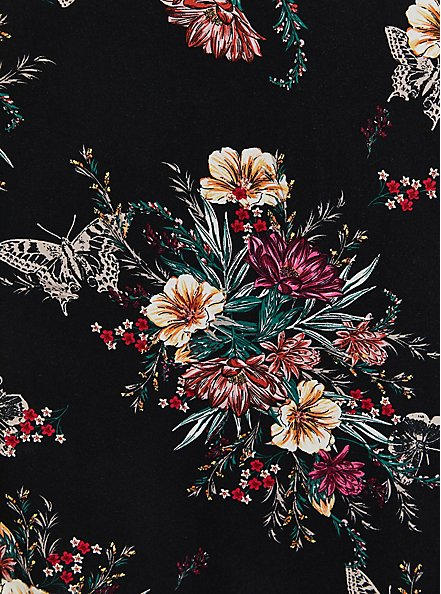 Black Floral Challis Smocked Midi Dress, FLORALS-BLACK, alternate