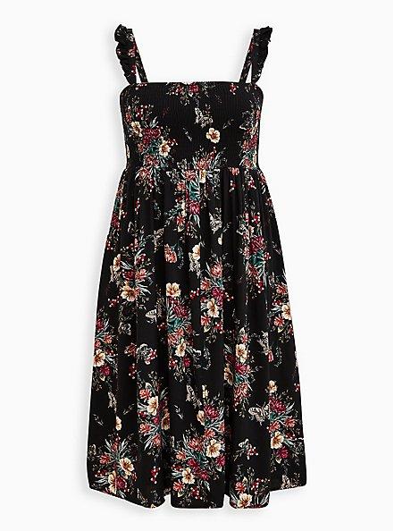 Black Floral Challis Smocked Midi Dress, FLORALS-BLACK, hi-res