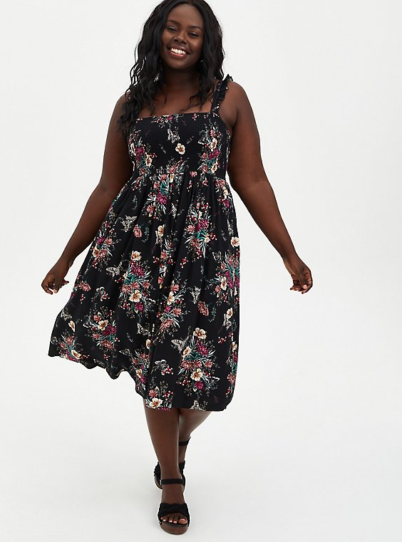 Black Floral Challis Smocked Midi Dress, FLORALS-BLACK, hi-res