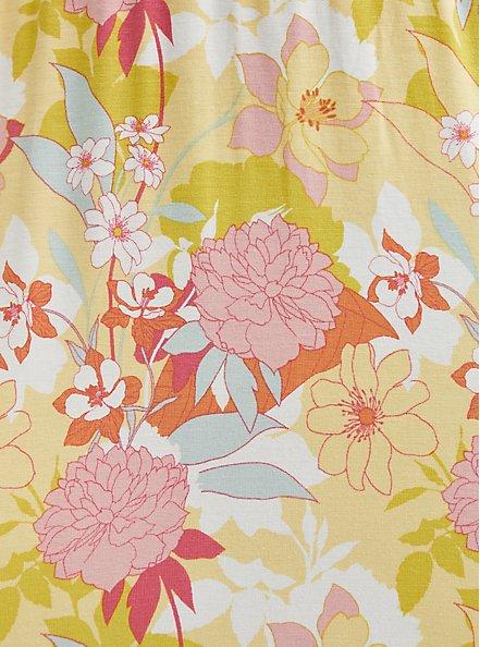 Super Soft Yellow Floral Tie-Front Tiered Midi Dress, FLORALS-PEACH, alternate