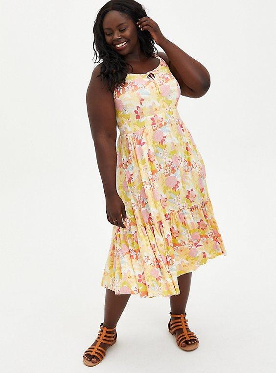 Super Soft Yellow Floral Tie-Front Tiered Midi Dress, FLORALS-PEACH, hi-res