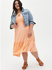 Super Soft Peach Tie-Front Tiered Midi Dress, PEACH NECTAR, alternate