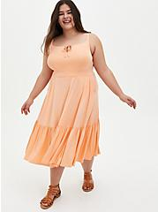 Super Soft Peach Tie-Front Tiered Midi Dress, PEACH NECTAR, hi-res