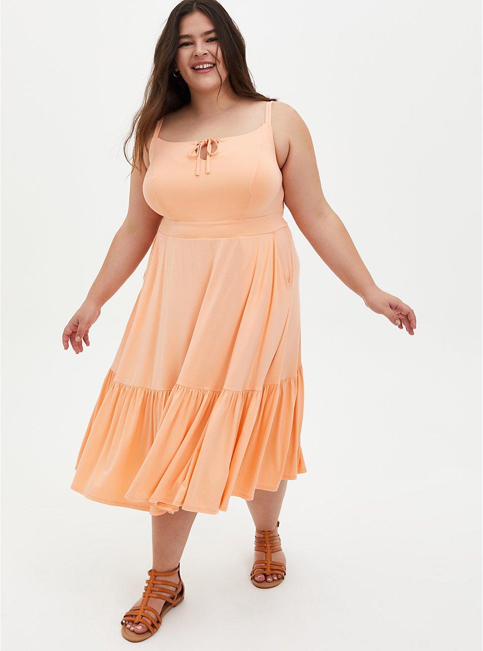 Super Soft Peach Tie-Front Tiered Midi Dress, PEACH NECTAR, hi-res