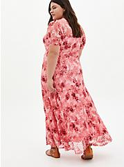 Light Pink Floral Lace Tiered Maxi Dress, FLORALS-PINK, alternate