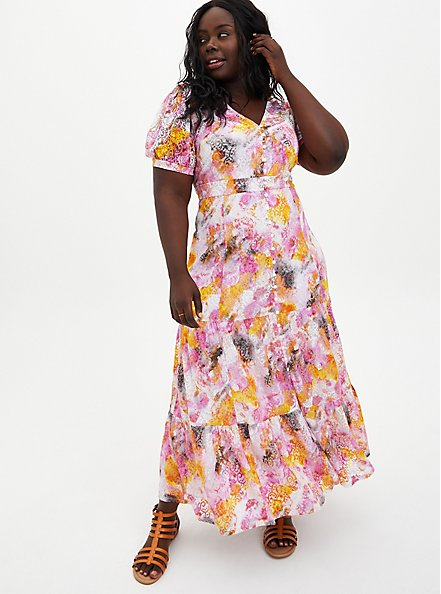 Multi Tie-Dye Lace Tiered Maxi Dress, TIE DYE-PINK, hi-res