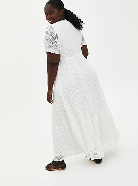 White Lace Puff Sleeve Skater Maxi Dress, CLOUD DANCER, alternate
