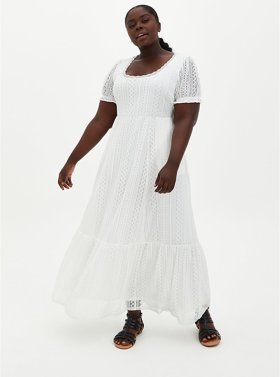 White Lace Puff Sleeve Skater Maxi Dress, CLOUD DANCER, hi-res