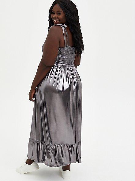 Grey Metallic Liquid Knit Skater Maxi Dress, GUNMETAL, alternate
