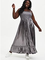 Grey Metallic Liquid Knit Skater Maxi Dress, GUNMETAL, hi-res