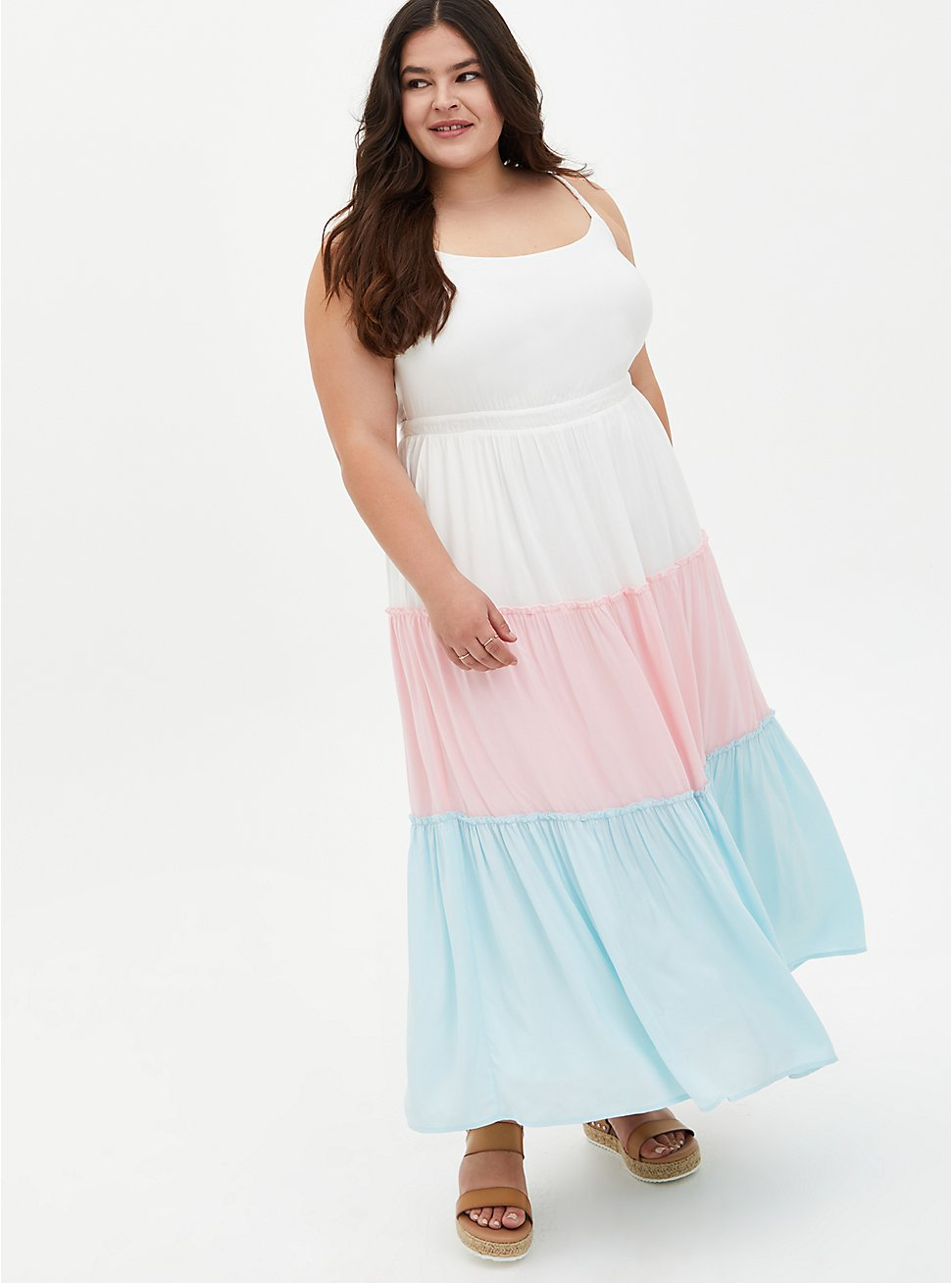 Multi Colorblock Challis Tiered Maxi Dress, MULTI COLOR, hi-res