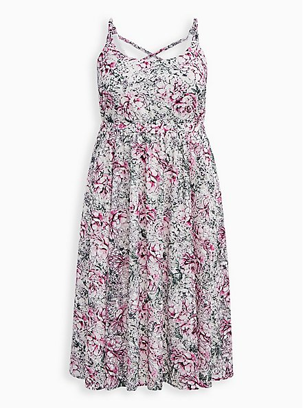 White Floral Lace Tiered Midi Dress, FLORAL - IVORY, hi-res
