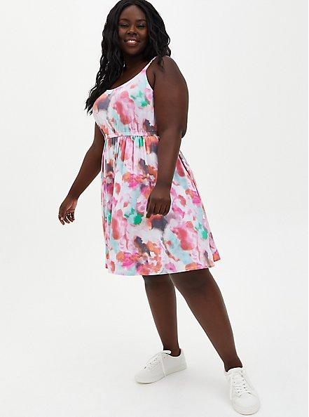 Super Soft Multi Tie-Dye Skater Dress, TIE DYE-PINK, alternate