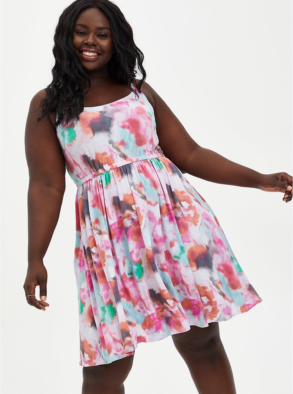 Super Soft Multi Tie-Dye Skater Dress, TIE DYE-PINK, hi-res