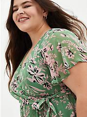 Green Floral Chiffon Wrap Midi Dress, FLORALS-GREEN, alternate