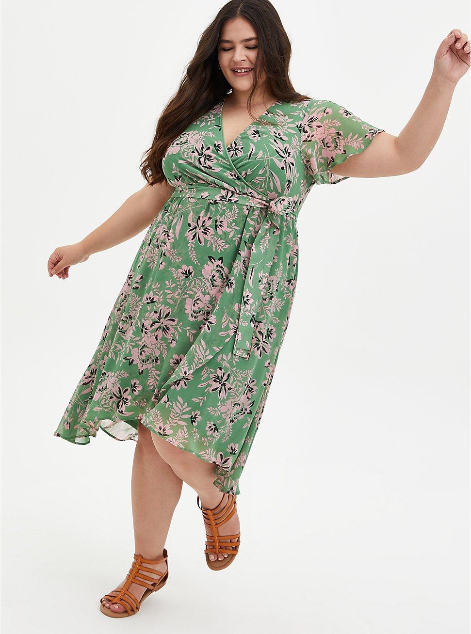 Green Floral Chiffon Wrap Midi Dress, FLORALS-GREEN, hi-res