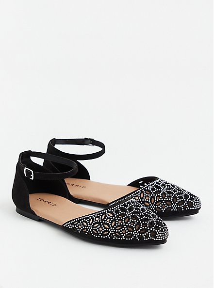 Black Faux Suede Embellished D'Orsay Flat (WW), BLACK, alternate