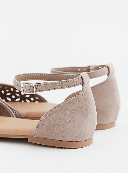 Taupe Faux Suede Embellished D'Orsay Flat (WW), TAN/BEIGE, alternate