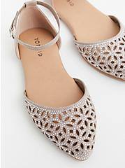 Taupe Faux Suede Embellished D'Orsay Flat (WW), TAN/BEIGE, hi-res