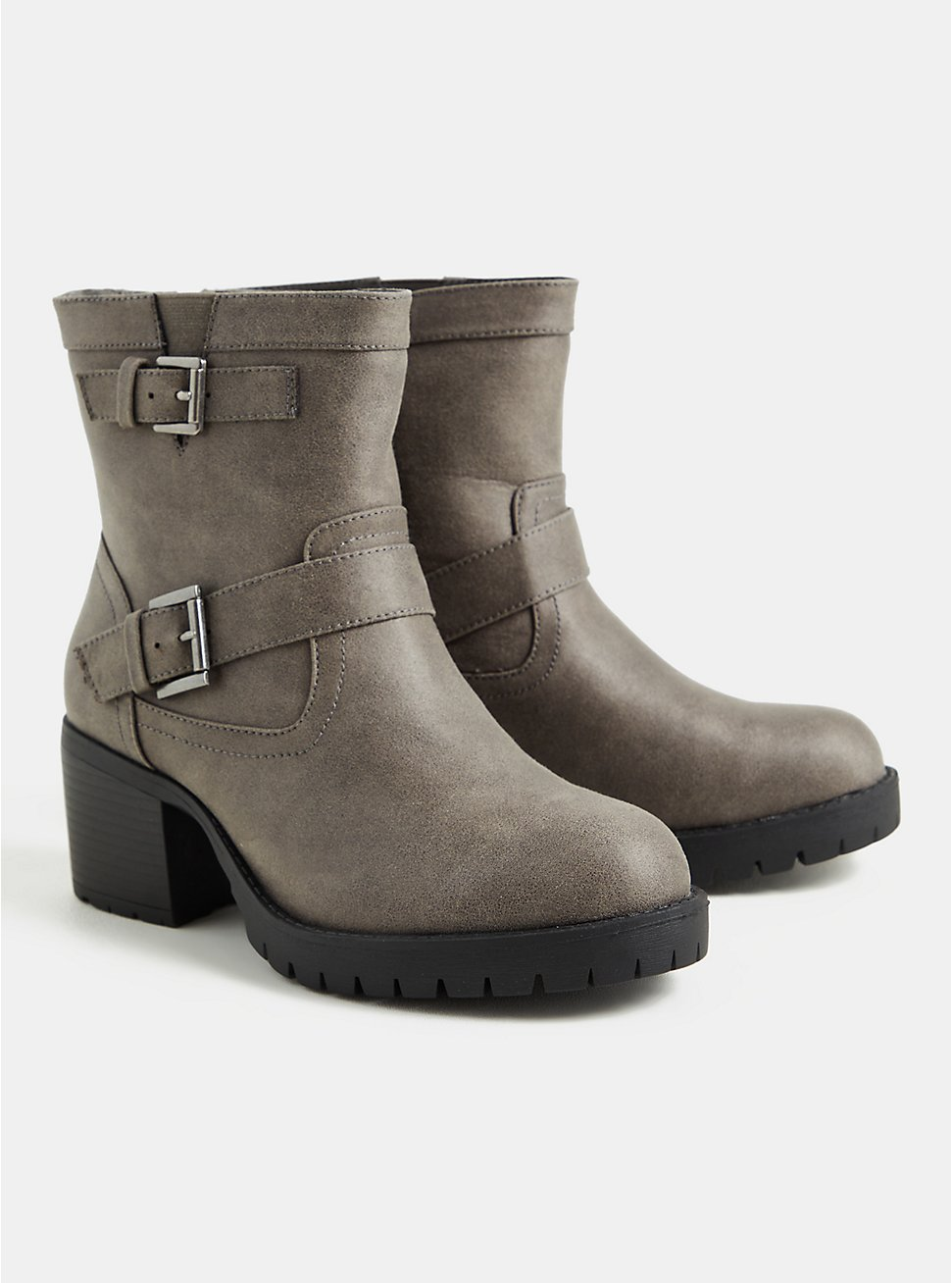 Grey Faux Leather Lug Sole Moto Bootie (WW), GREY, hi-res