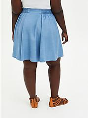 Blue Chambray Mini Skater Skirt, CHAMBRAY, alternate