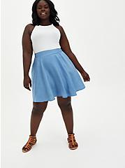 Blue Chambray Mini Skater Skirt, CHAMBRAY, hi-res