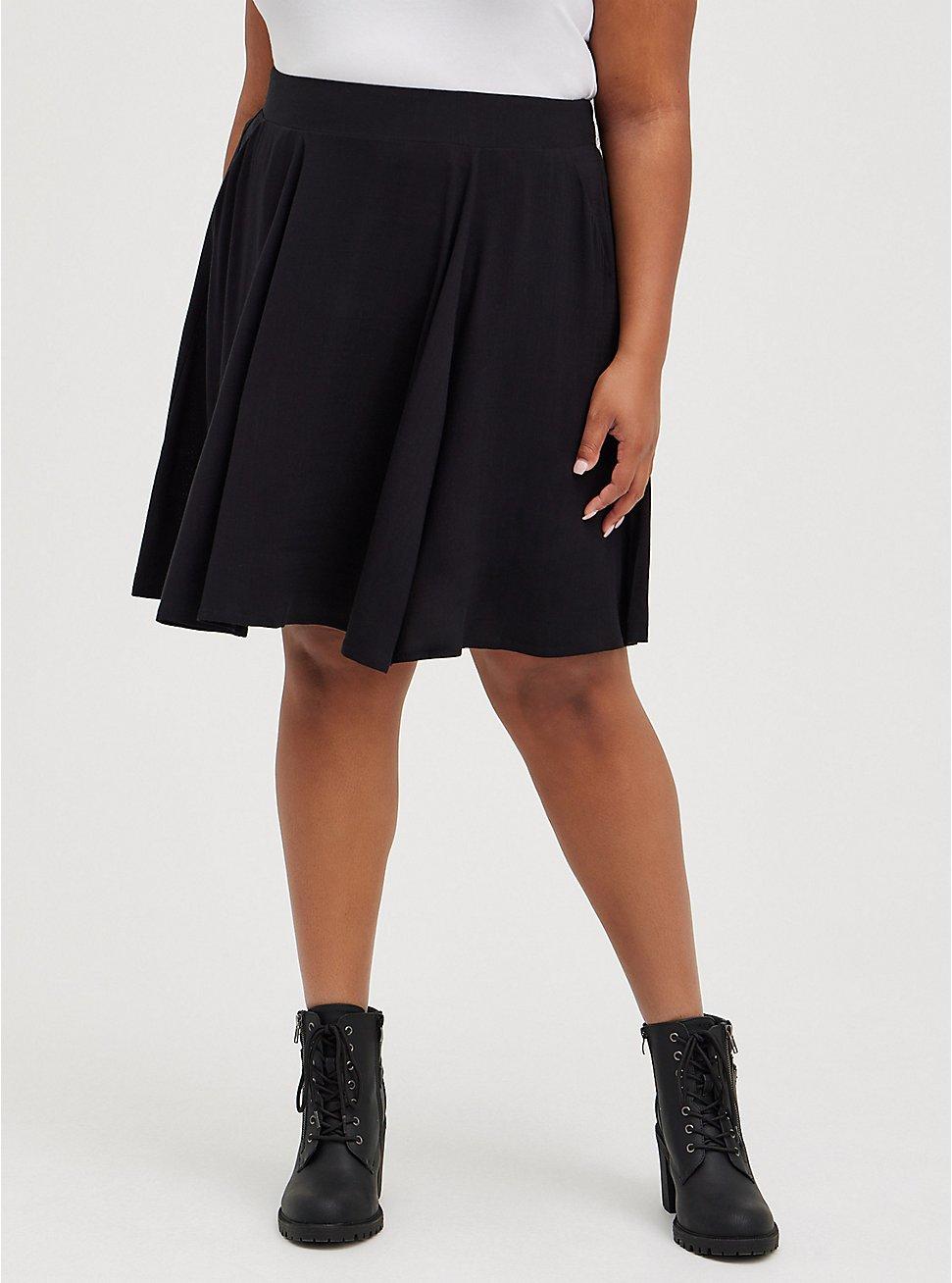 Black Rayon Mini Skater Skirt, DEEP BLACK, hi-res