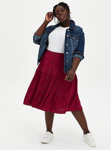 Red Wine Button Tiered Midi Skirt, BEET RED, alternate