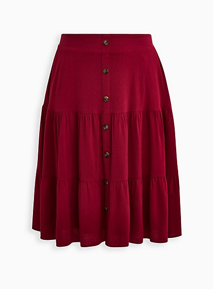Red Wine Button Tiered Midi Skirt, BEET RED, hi-res