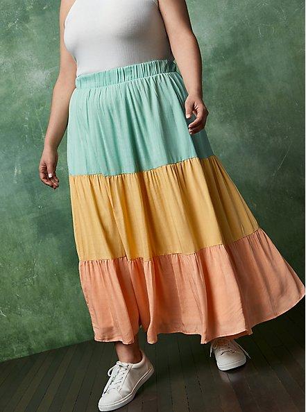 Multi Colorblock Woven Tiered Maxi Skirt, MULTI COLOR, alternate